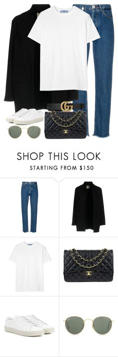 """Untitled #3293"" by elenaday ❤ liked on Polyvore featuring Philipp Plein, Pinko, Prada, Chanel, Yves Saint Laurent, Ray-Ban and Gucci"
