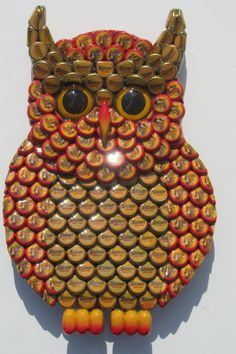 Owl Art Metal Bottle Cap Shiner Bock Bottlecap Owl