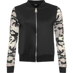 Janeen Camo Sleeve Bomber Jacket ($33) ❤ liked on Polyvore featuring outerwear, jackets, black, sleeve jacket, flight jacket, camoflage jacket, camouflage jacket and bomber jacket