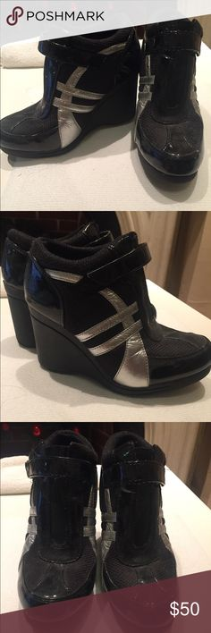 """Bebe wedge heel fashion sneakers Black wedges heeled sneaker with silver design. About 3.5"""" heel. Cloth and patent leather. Slight scoffing on heels. Velcro ankle strap. bebe Shoes Sneakers"""