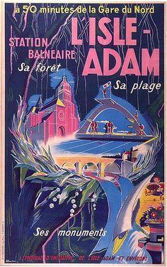 ✨ A. Heurlier - L'Isle Adam. Station balnéaire. Sa forêt, sa plage, ses monuments, à 50 minutes de la gare du Nord. Imp. A. Rampin Paris