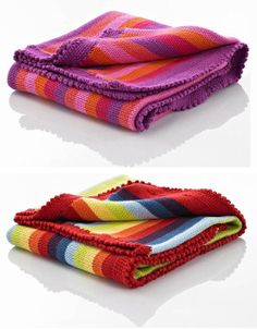 childrens knit blankets | knitted cotton stripy baby blankets beautiful cotton hand knitted ...