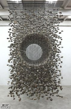 A hanging rock installation by Korean artist Jaehyo Lee     this will be in my garden!