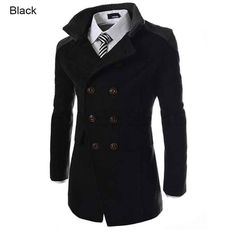 Double-breasted Winter Men Trench Coats Long