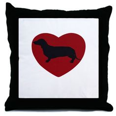 Dashund Heart Throw Pillow