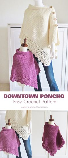 Downtown Poncho for Kids Free Crochet Pattern Any little girl would be over the moon to have a garment just like her mom, and you will know that she has a quality piece of apparel. for kids free pattern Poncho for Kids Free Crochet Patterns Poncho Crochet, Mode Crochet, Crochet Girls, Crochet For Kids, Children's Poncho, Knitting For Kids, Crochet Clothes, Free Pattern, Kids Poncho Pattern