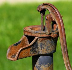 Rusty Pump by arbyree/ I def remember these and in the kitchen sink. It was a smaller version. I'm giving away my age. Old Water Pumps, Rust In Peace, Rusted Metal, Pump It Up, Old Tractors, Water Well, Old Farm, Watering Can, Yard Art