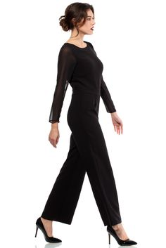 Beautiful Pantsuit for Women - black. Piękny kombinezon damski, spodium - czarny http://besima.pl
