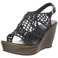 Yellow Box Women`s Malena Wedge Sandal,Black,8 M US $63.00