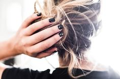 Sparkly black nails | Stella Harasek. Photo by Jarno Jussila.