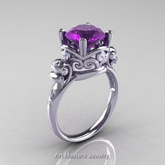 Art Masters Vintage 14K White Gold 3.0 Ct Amethyst by artmasters