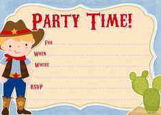 Birthday Templates Invitations Temmplates Cowboy Template Free