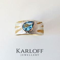 127S Ring - sterling silver and gold with blue topaz