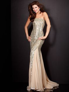 Find out the latest A-line Floor-length Strapless Champagne Dress with Dressesy. From evening dresses to prom dresses, cocktail dresses to maxi dresses and more. Shop one from thousands of dresses here. Nude Prom Dresses, Prom Dresses Jovani, Pageant Dresses, Sexy Dresses, Strapless Dress Formal, Nice Dresses, Amazing Dresses, Glamorous Dresses, Formal Gowns