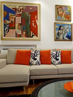 Home Decor Photos: Orange Accented Modern Living Room from The Nest