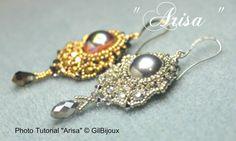 "Tutorial PDF Orecchini ""Arisa""/""Arisa"" Earrings/ Tutorial Beading Jewelry/Weaving beads/Instructions Ita-Engl/Con CristalliSwarovski di GilBijoux su Etsy"