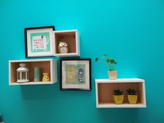 Decoration  with wall shelves and picture.