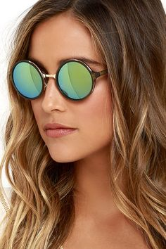 e65884d476 Bright Light Olive Green Round Sunglasses at Lulus.com!