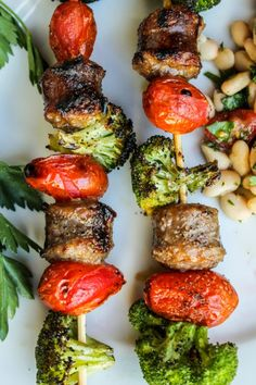 Sausage and Broccoli Kebabs