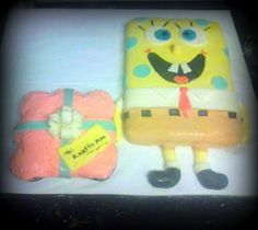 Sponge Bob Cake with gift made out of 4 cupcakes