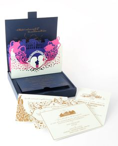 Laser cut pop-up boxed invitation