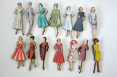 old sewing pattern pictures attached to wood~~ now magnets & brooches!