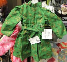Handmade Doll Dress (Green with Reindeer Print) $12.00