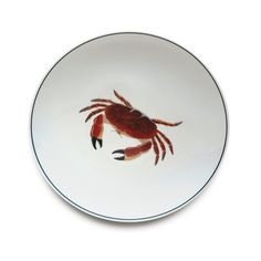 Jersey Pottery Seaflower Crab Dinner Plate #JerseyPottery #ceramics #pottery #shellfish #marine