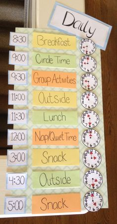 Learning the daily routine helps children to adjust to separation from parents as well as learning math skills and time.