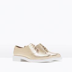 GOLD PATENT BLUCHER-Flat shoes-Shoes-TRF | ZARA United States