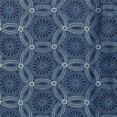 KASURI - MODA FABRICS- #32682 15-JAPANESE PRINTS-INDIGO/IVORY CHRYSANTHEMUM HEXY