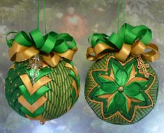 Set of No Sew Quilted Ornaments done in Gold and Green