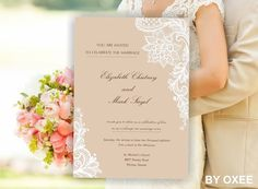 Printable Wedding invitation template Vintage lace pattern by Oxee , DIY , print yourself