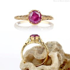 Antique Ring - Victorian Rhodolite Garnet Ring 14k Gold 1880s, Antique Garnet Ring, Victorian Almandine Solitaire, Antique Jewelry Size 6.5 by HeartofHeartsJewels on Etsy