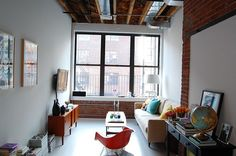 Long and narrow living space.