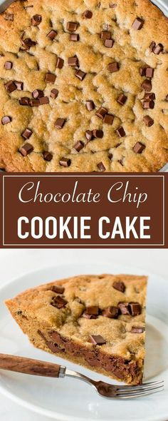 Soft and chewy giant chocolate chip cookie cake, perfect as a birthday cake!