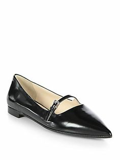 Prada Polished Leather Mary Jane Flats