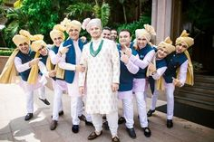 Mihir and Disha - A Magical Mumbai Wedding   Groom with his groomsmen   Groom in Creme Sabyasachi band gala with blush pink safa   Groomsmen in coordinated outfits   Blush pink kurta with blue nehru jacket and golden safa   Credits: The Photo Diary   Every Indian bride's Fav. Wedding E-magazine to read.Here for any marriage advice you need   www.wittyvows.com shares things no one tells brides, covers real weddings, ideas, inspirations, design trends and the right vendors, candid…