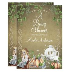Vintage Cinderella Storybook Fairytale Baby Shower Card - birthday cards invitations party diy personalize customize celebration