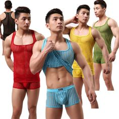 Men's Underwear Dress Sexy Fishnet T-shirt Casual Home Furnishing Vest [not Include Shorts].