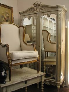 Beautiful gray painted French Armoire along with other lovely things. at The Drill Hall Emporium: