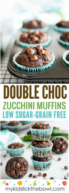Healthy zucchini muffins, a a gluten free, grain free recipe with a double chocolate hit #muffins #paleorecipe #paleobaking #paleomuffin #paleo #chocolatemuffin #healthymuffin #hiddenveggies