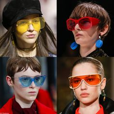 Fruity colored sugar candy Sunnies so Summer to Heat your Winter! Tinted lense sunglasses Trend for Fall Winter Dior, Balenciaga, Valentino and Altuzarra Fall Winter 2018 PFW. Trending Sunglasses, Mens Sunglasses, Funky Glasses, Colored Sugar, Sugar Candy, Good To See You, Color Lenses, Fall Trends, Fashion Killa