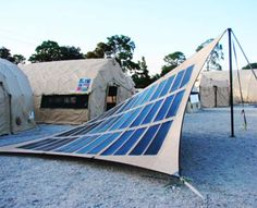 new solar fabric structure by FTL Solar. This innovative pre-fabricated Photovoltaic (PV) tensile structure integrates thin film PV with super strength fabric to create easy to deploy, move, install energy producers. They also are double-function by creating spaces of shade