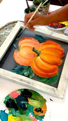 Autumn Painting, Autumn Art, Tole Painting, Painting On Wood, Painting & Drawing, Painted Pumpkins, Painting On Pumpkins, Halloween Canvas Paintings, Fall Paintings