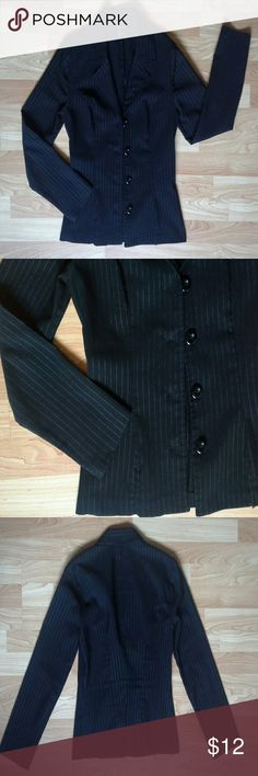 My Michelle Clasic Pinstripe Blazer; Black; 7/8; Vently gently used, still in great condition! This lightweight blazer is the perfect combination of class and comfort. A must have staple piece for every professional wardrobe. Size: 7/8 (S/M - Fits more like a small than a medium) Color: Black w/ white pinstripe Style: Blazer Length from shoulder tip to bottom hem: 23 inches Sleeve length: 24 inches  Closure: Button front My Michelle Jackets & Coats Blazers