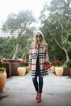 Atlantic-Pacific: Checked Coat, Denim: Current/Elliott, Red Pumps: Carolina Herrera, Red Bag: Chanel.