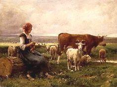 Bergère avec chèvres, vaches et moutons
