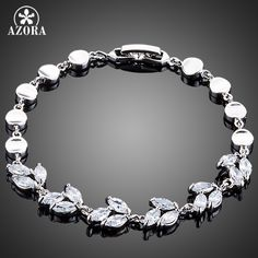 AZORA Elegant Water Drop Design Marquise Cut Clear Cubic Ziconia Bracelet for Women TS0131