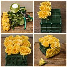 DIY flower arrangements . How to construct a flower box centerpiece